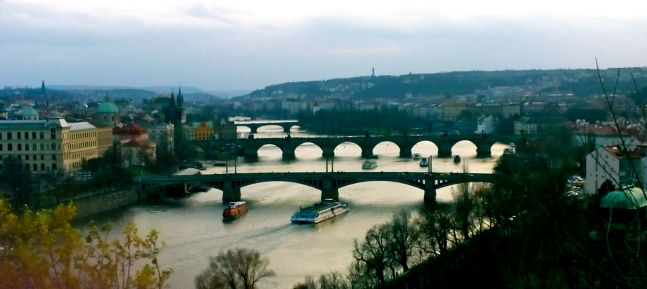 Vltava River's many magnificent bridges.