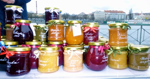 Brightly coloured cottage industry preserves.